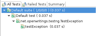 TestNG Exception output