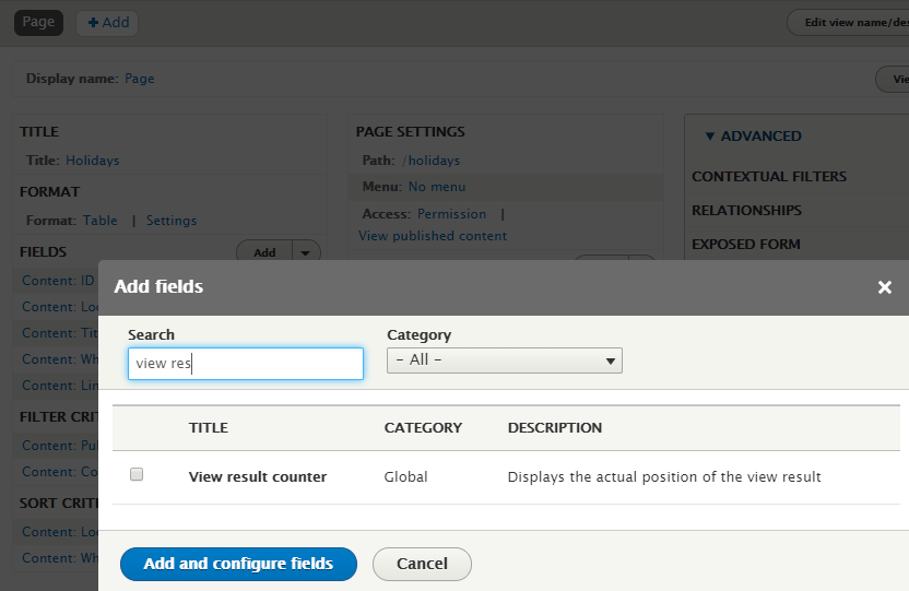 Drupal 8 - View result counter field