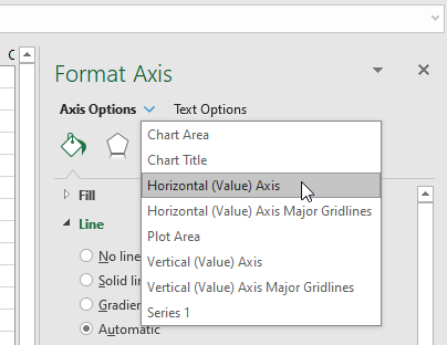 MS Excel - Chart - Format Axis - Horizontal (Value) Axis