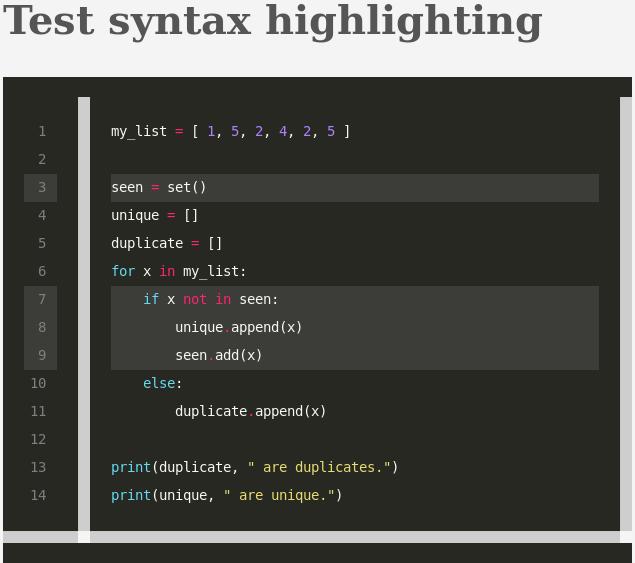 Hugo - Syntax Highlighting example