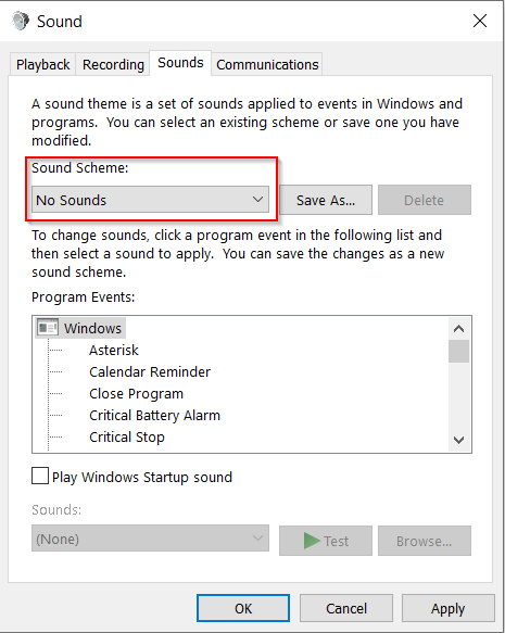 MS Windows - Sound Control Panel - Sound - Sound Scheme - No Sounds