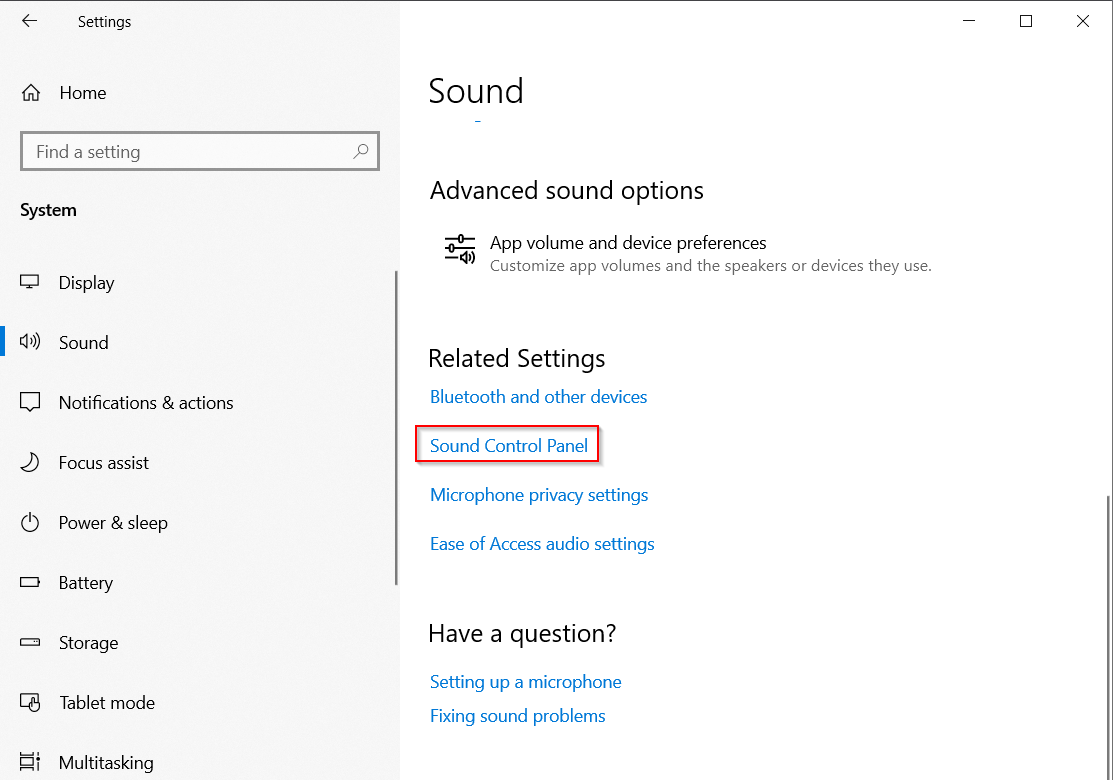 MS Windows - Settings > System > Sound > Sound Control Panel