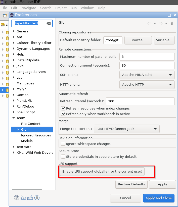 Window > Preferences > Team > Git - Enable LFS support globally